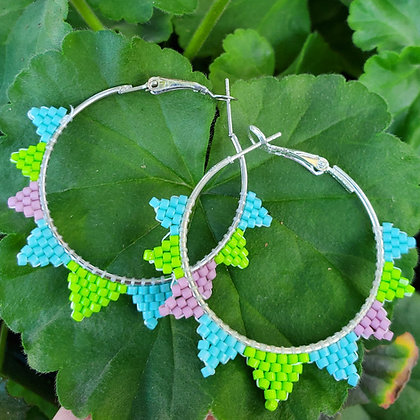 Dinosaur Spike Beaded Hoops