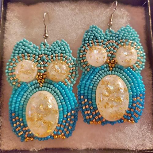 Beaded Owl Earrings