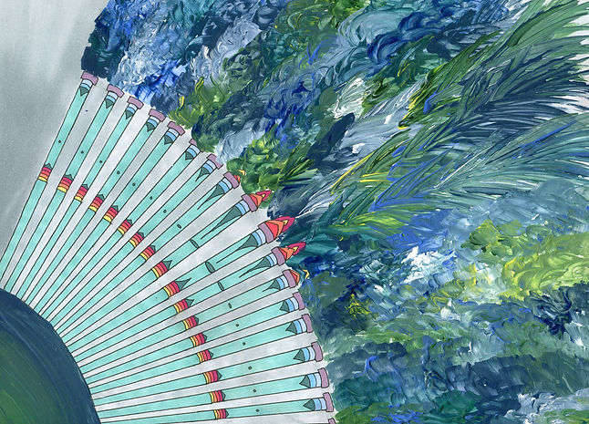 3. Fancy Feathers-Marker, Acrylic paint,