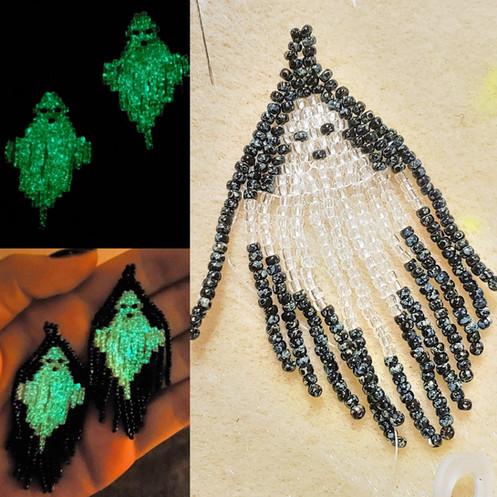 Beaded Ghost Earrings