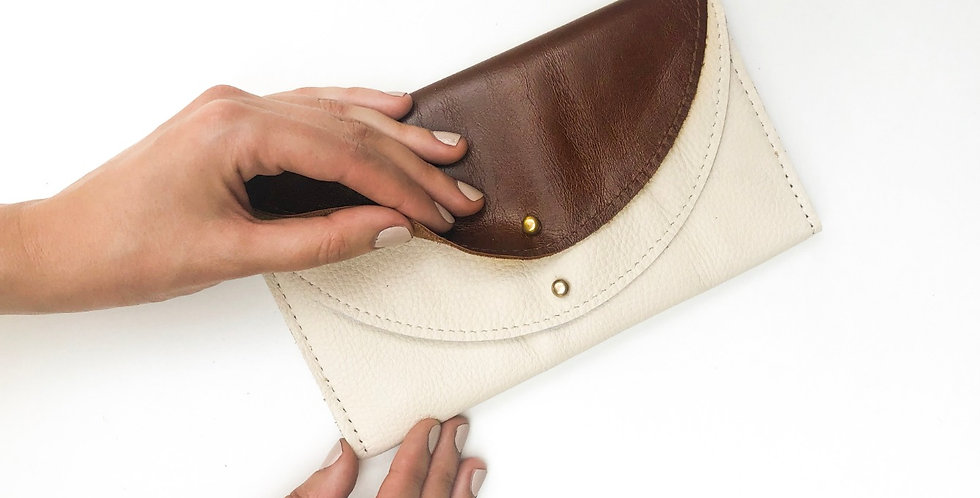 Wholesale - The Luna - Hazelnut & Cream Leather Wallet