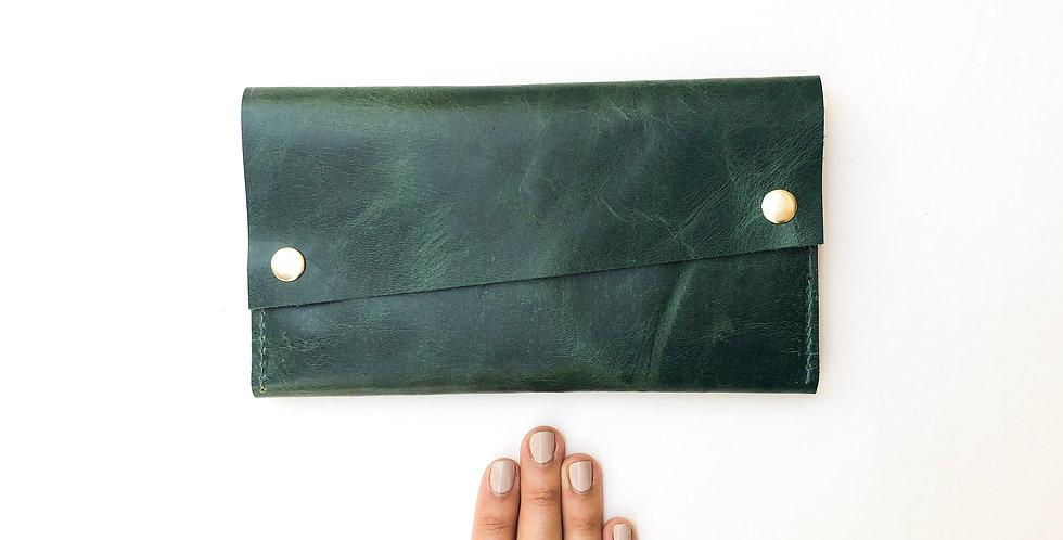 The Hazel - Emerald Green & Honey Leather