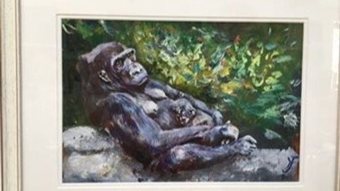 Gorilla Mother and Baby- Painting