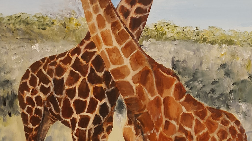 Giraffes in Botswana- Painting