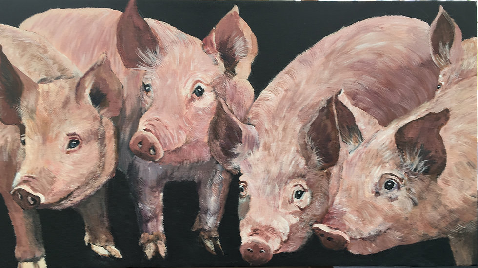 5 Piglets- Painting