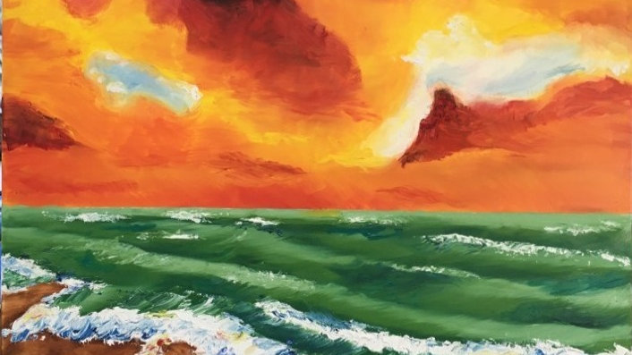 Sunset Waves- Painting