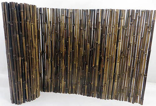 6ft (1.8m) Black bamboo fence made up of 20-25mm diameter canes on an 6ft