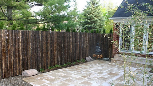 2m x 2m black bamboo fence roll made of 30-35mm poles