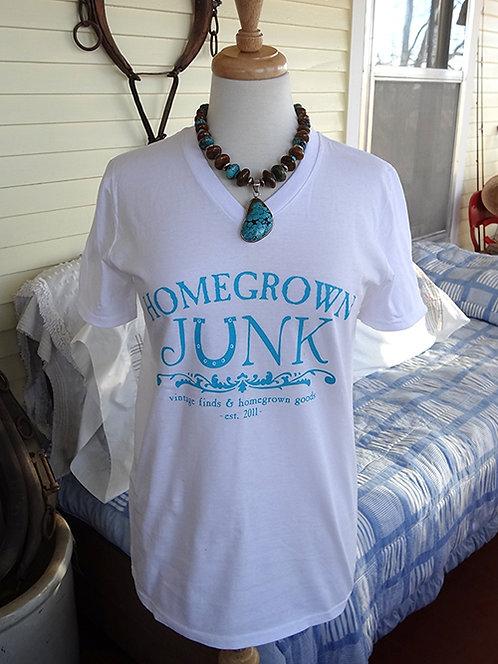 HGJ White V-Neck T-Shirt
