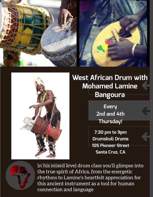 Drumskull Drums, Santa Cruz, Mohamed Lamine Bangoura, Djembe, Dundun, Sanghban, Kenkeni