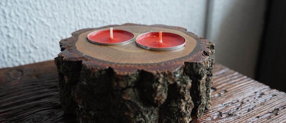 Suporte para 3 tipos de velas em carvalho