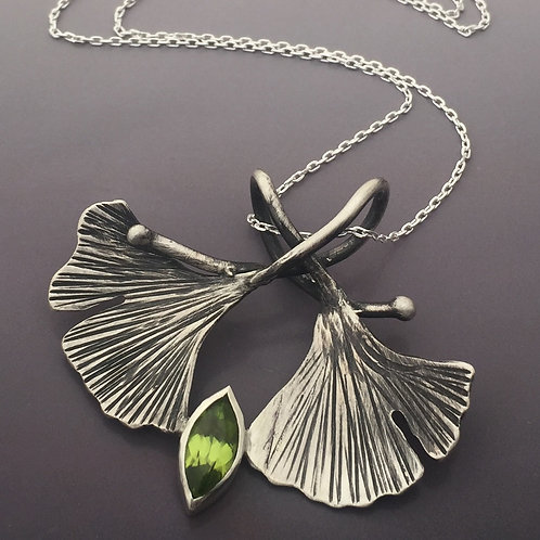 two ginkgoes necklace