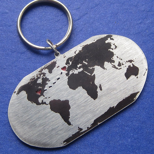 Long Distance Love Globe Keychain