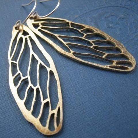 Golden Cicada Wing Earrings