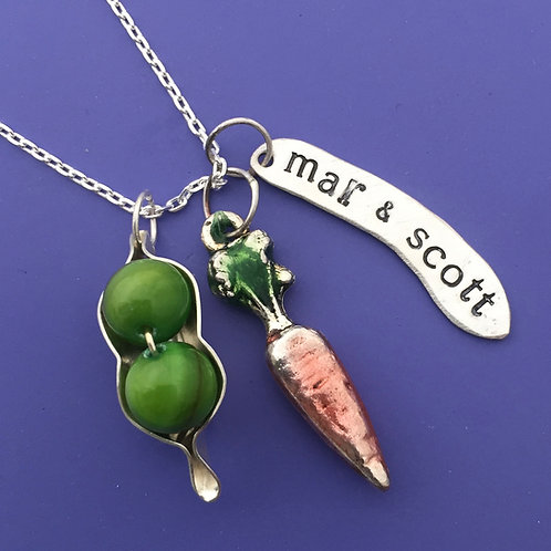 Peas & Carrots Custom Stamped Necklace