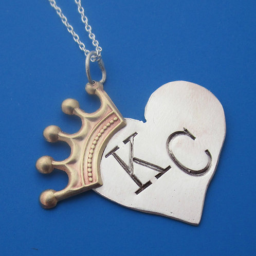 Kansas City Royals Crowned Heart Necklace