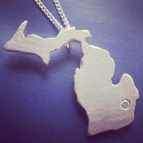 Diamond Set Michigan Necklace