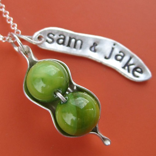 Custom Stamped Peapod Necklace