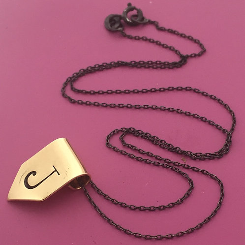 Golden Banner Initial Necklace