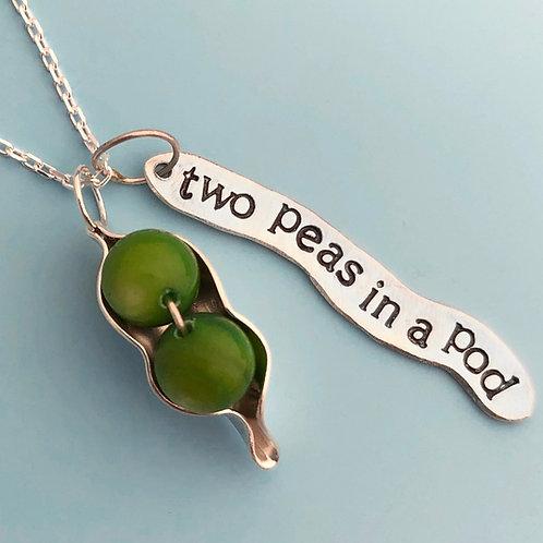 Two Peas in a Pod Tag Peapod Necklace