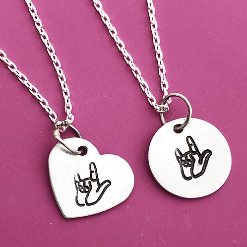 I Love You sign necklace