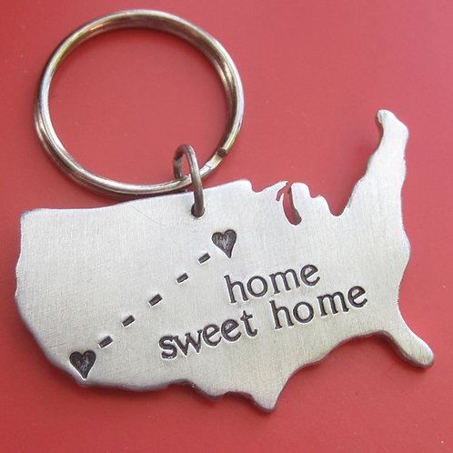 Custom Stamped Long Distance Love Keychain