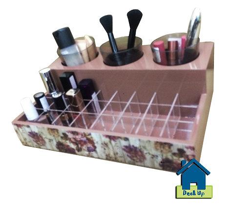 Make Up Organizer - Distressed Floral - Beige
