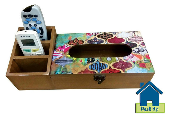 Remote Holder with Tissue Box - Funky Moroccan