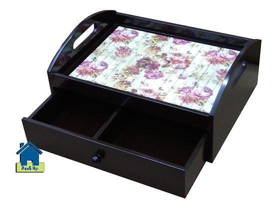 Drawer Tray - Distressed Floral - Two Compartment