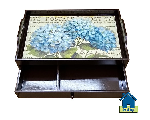 Drawer Tray - Blue Hydrangea - Two Compartment