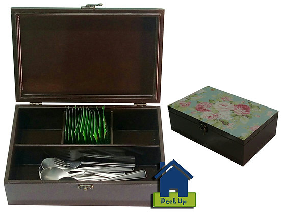 Cutlery Box - Pink Blooms