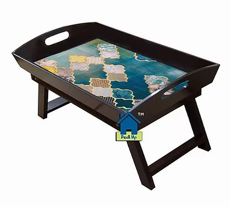 Foldable Bed Table - Moroccan Aqus Hues