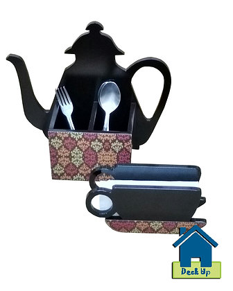 Cutlery/Napkin Holder - Teapot & Cup - Mad 'Bout Motifs