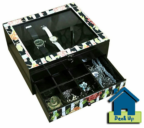 Jewellery Organizer and Watch Box -Striped Floral