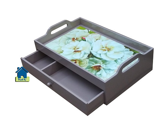 Drawer Tray - Perfect Peonies - Two Compartment