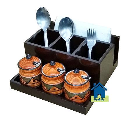 Cutlery Holder - With 3 Orange Jars