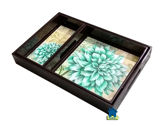 Serving Tray - Teal Fleurs