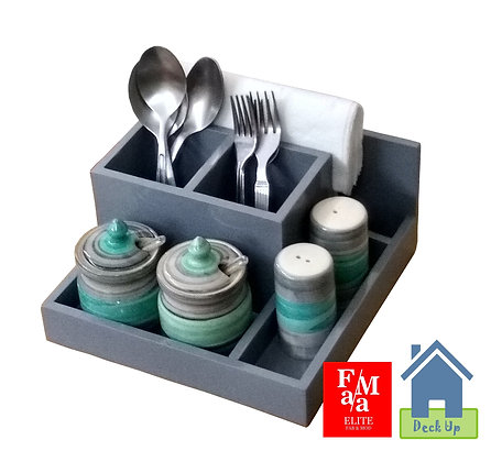 Cutlery Holder - With 2 Turquoise Jars & Shakers