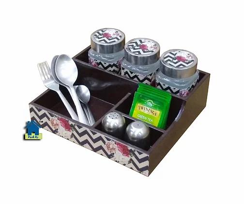 Jar Set with Cutlery Holder - Chevron Floral