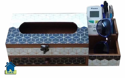 Remote Holder with Tissue Box & Drawer - Geometric Maze