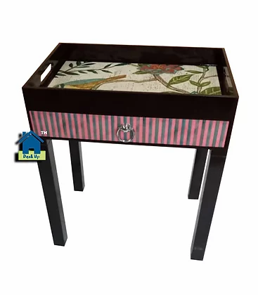 Side Table - Two Toned Bird Pattern