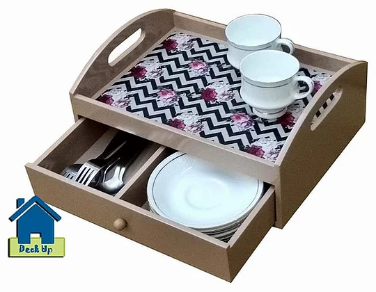 Drawer Tray  - Two Compartment - Chevron Floral
