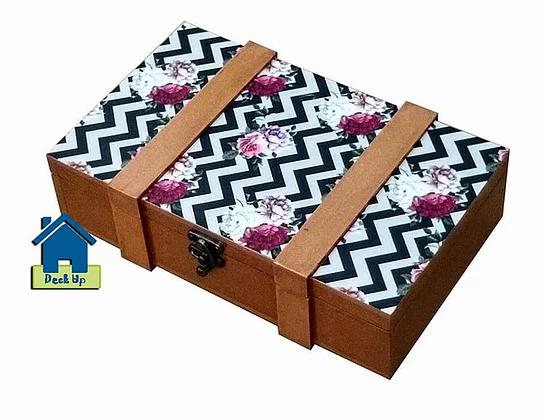 Suitcase Style Box - Chevron Floral