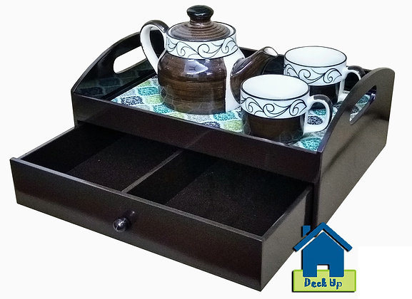Drawer Tray - Ocean Hues - Two Compartment