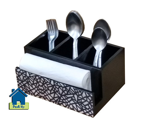 Cutlery Holder - B&W Maze