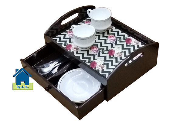 Drawer Tray - Chevron Floral  - Two Compartment