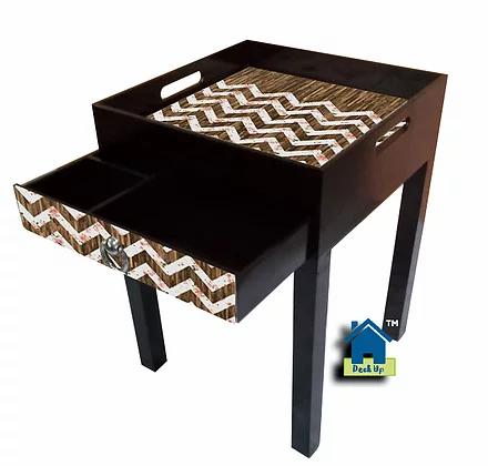 Side Table - Chevron Wood Finish
