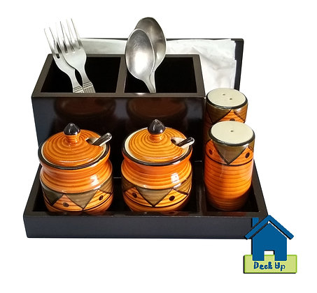 Cutlery Holder - With 2 Orange Jars & Shakers
