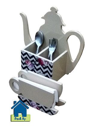 Cutlery/Napkin Holder - Teapot & Cup - Chevron Floral