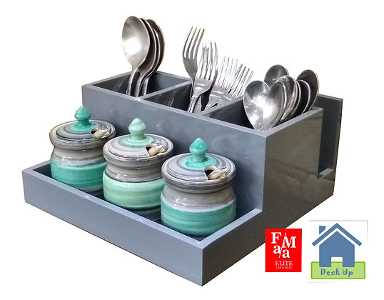 Cutlery Holder - With 3 Turquoise Jars